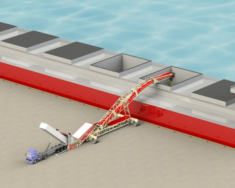 Single Feeder Cambered Boom Shiploader